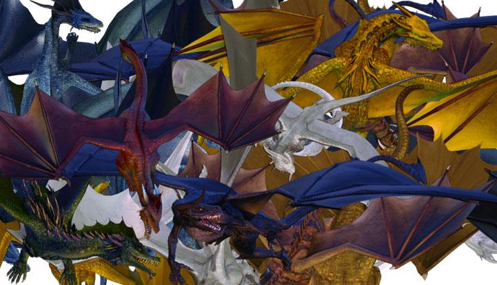 Dragon tokens closeup